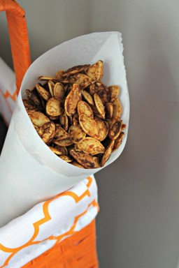 Sriracha Roasted Pumpkin Seeds in a Paper Cone | {My Life Space Moments}